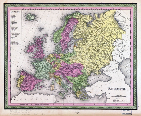 Large detailed old political map of Europe with cities     1849     Large detailed old political map of Europe with cities   1849