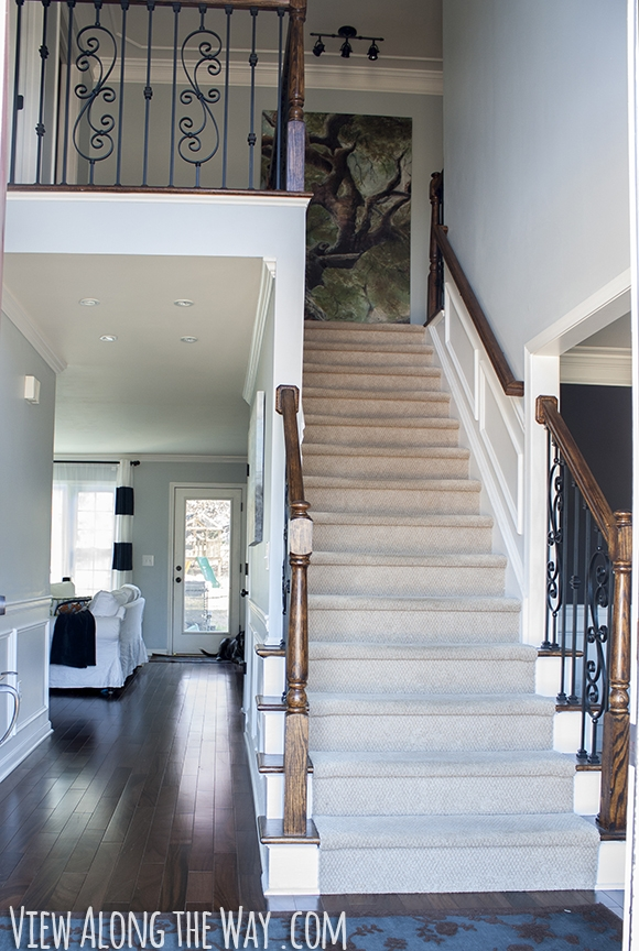 How To Refinish And Update Wood Stair Railings | Black Banister With White Spindles | Brazilian Cherry Stair | Victorian | Traditional Home | Iron Spindle White Catwalk Brown Railing | Gray