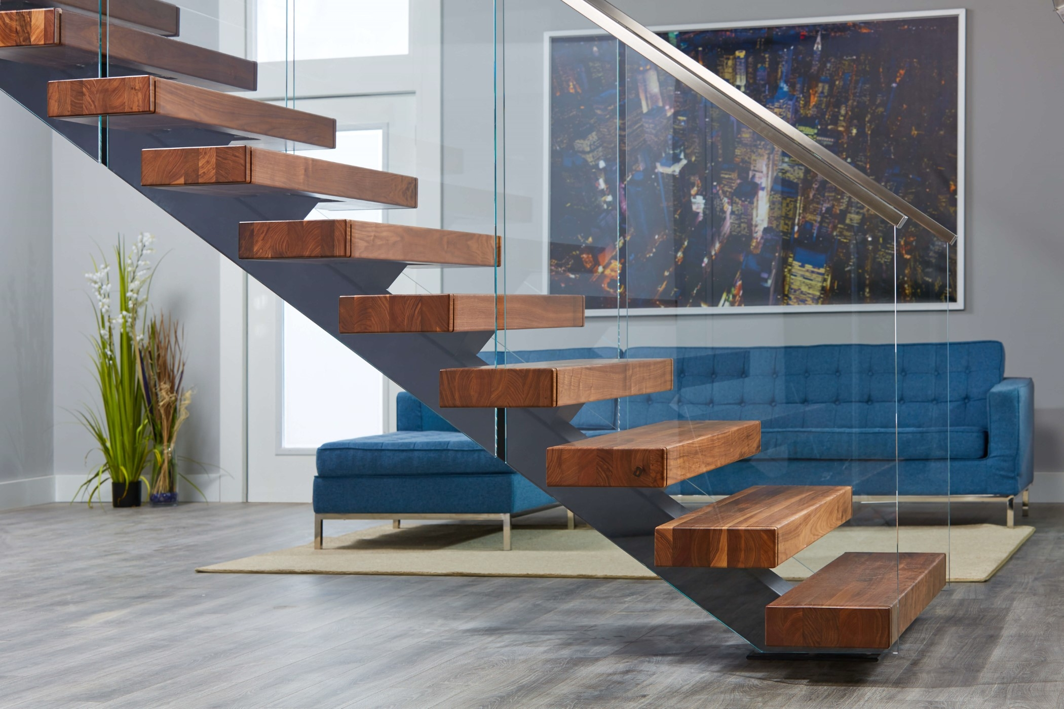 Viewrail Floating Stairs And Modern Railing For Stairs | Wooden Handrail With Glass | Oak | Square | Marble | Landing | Nautical Wood