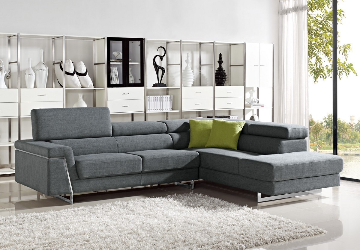 Divani Casa Darby   Modern Fabric Sectional Sofa Set