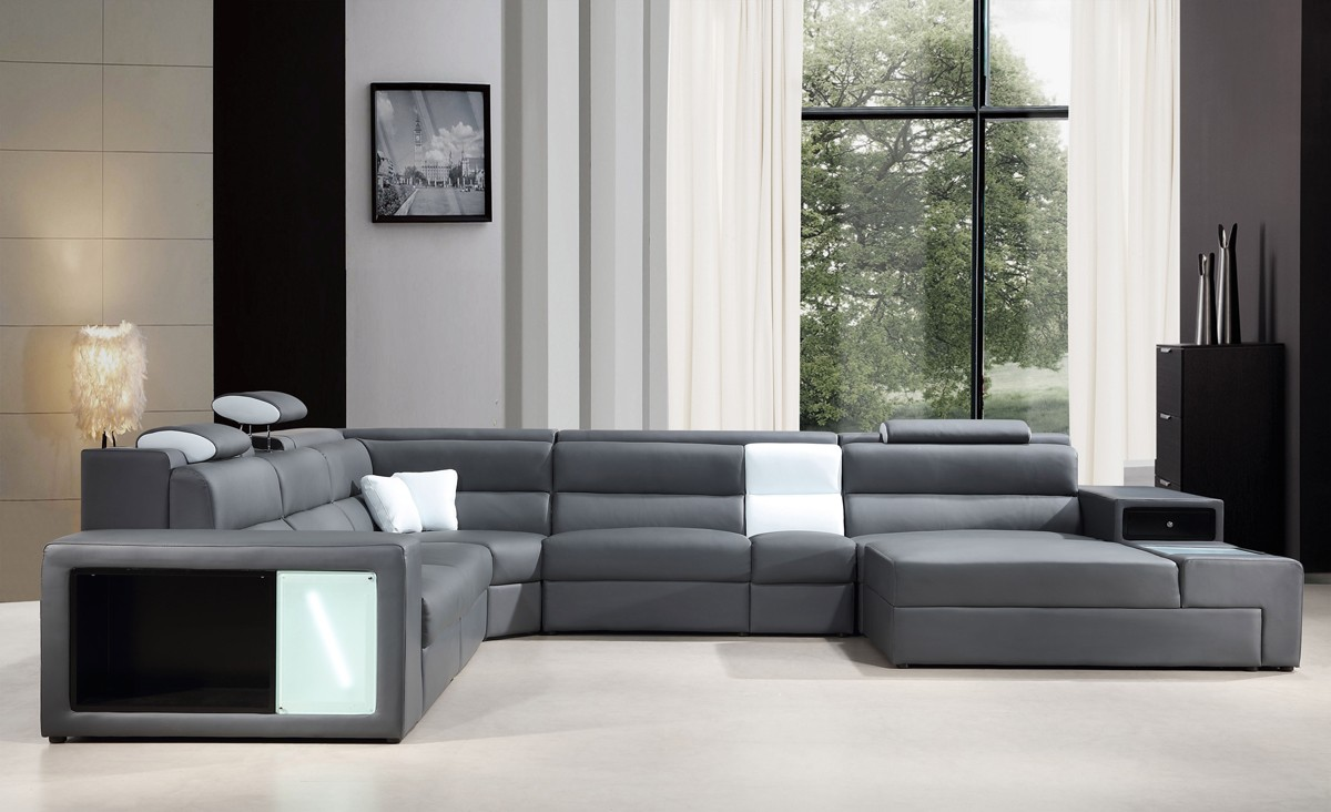 White Leather Chaise Sofa