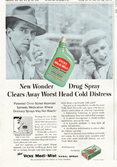 1956 Vicks Nasal Spray Vintage Ad Quot New Wonder Quot