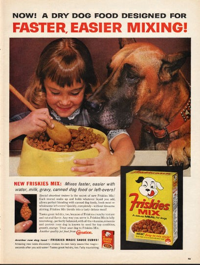 1962 Friskies Mix Dog Food Vintage Ad Quot Faster Easier Mixing Quot