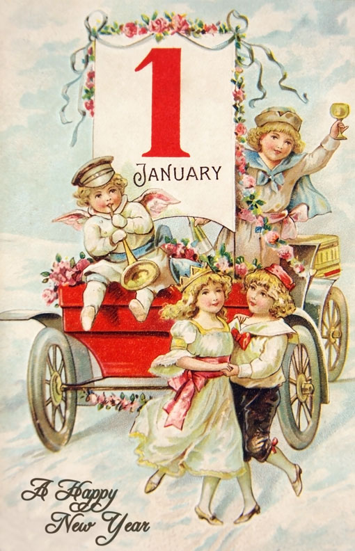 Vintage Early 1900 s Happy New Year Postcard   Vintage Fangirl Vintage Victorian Happy New Year Postcard