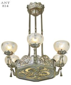Vintage Hardware   Lighting   Vintage Hardware and Lighting Art Nouveau or Deco French Chandelier Antique Ceiling Light Fixture   ANT 814
