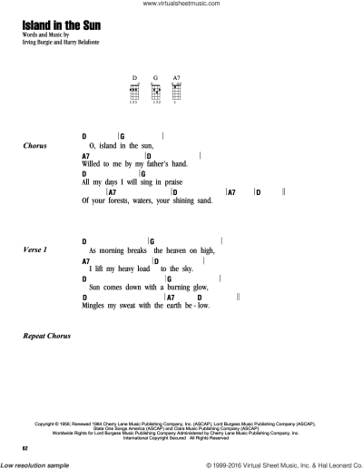 Belafonte - Island In The Sun sheet music for ukulele (chords)