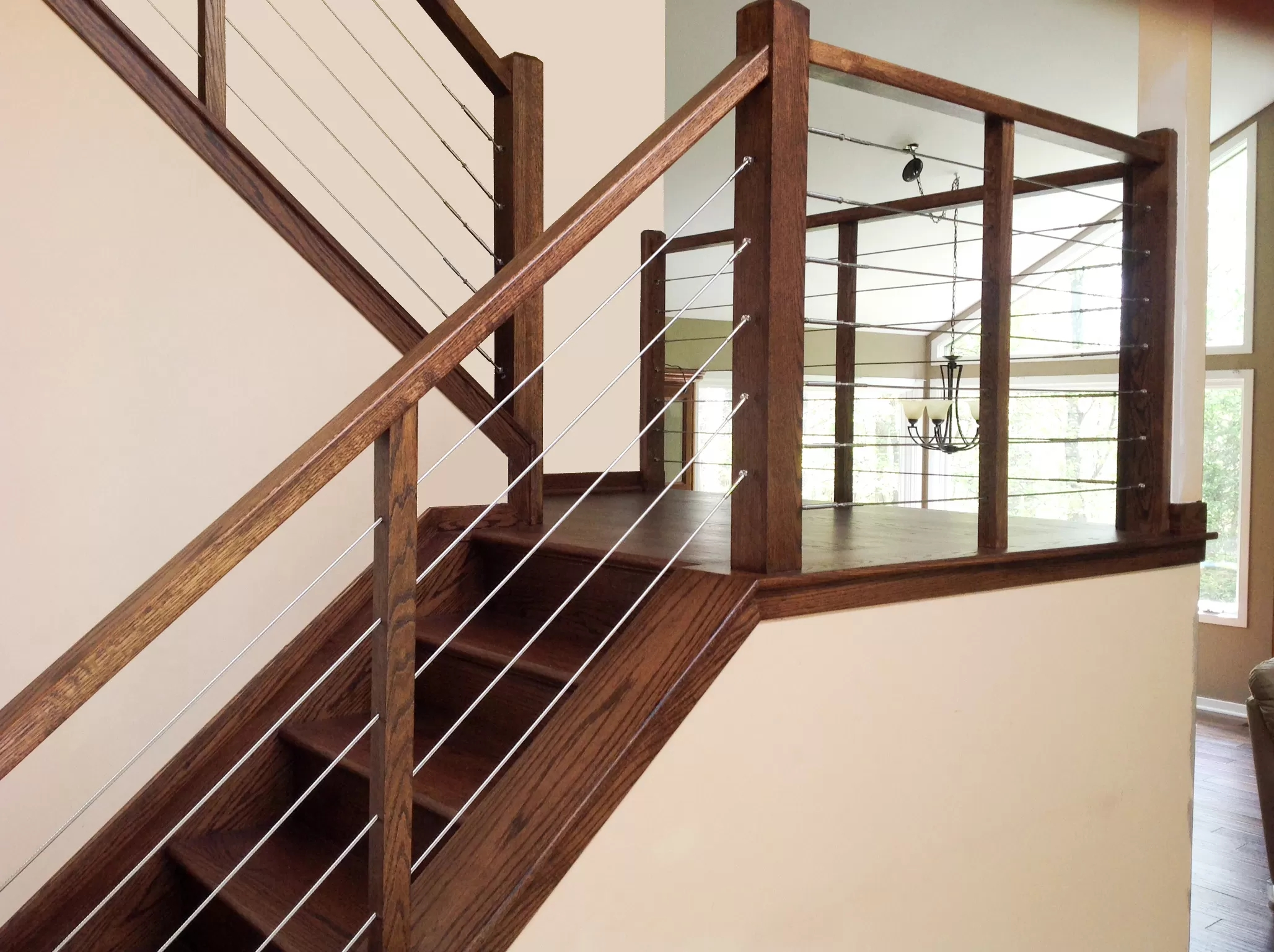 Cable Infill Vista Railings | Wood And Wire Stair Railing | Before And After | Coastal | Natural Wood | Residential | Utility Panel