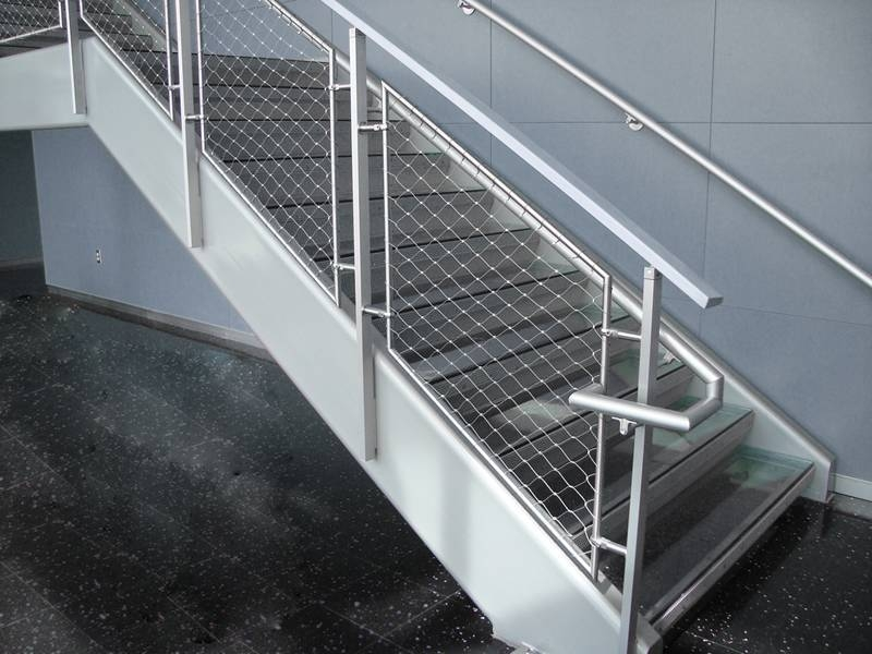 Elegant Balustrade Infill Combined With Functionality Safety | Wire Mesh Stair Railing | Exterior Perforated Metal | Galvanized Mesh | Staircase | Modern | Mesh Balustrade