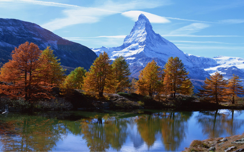Landscape Mountain Rocky Alpine Peak With Snow Autumn