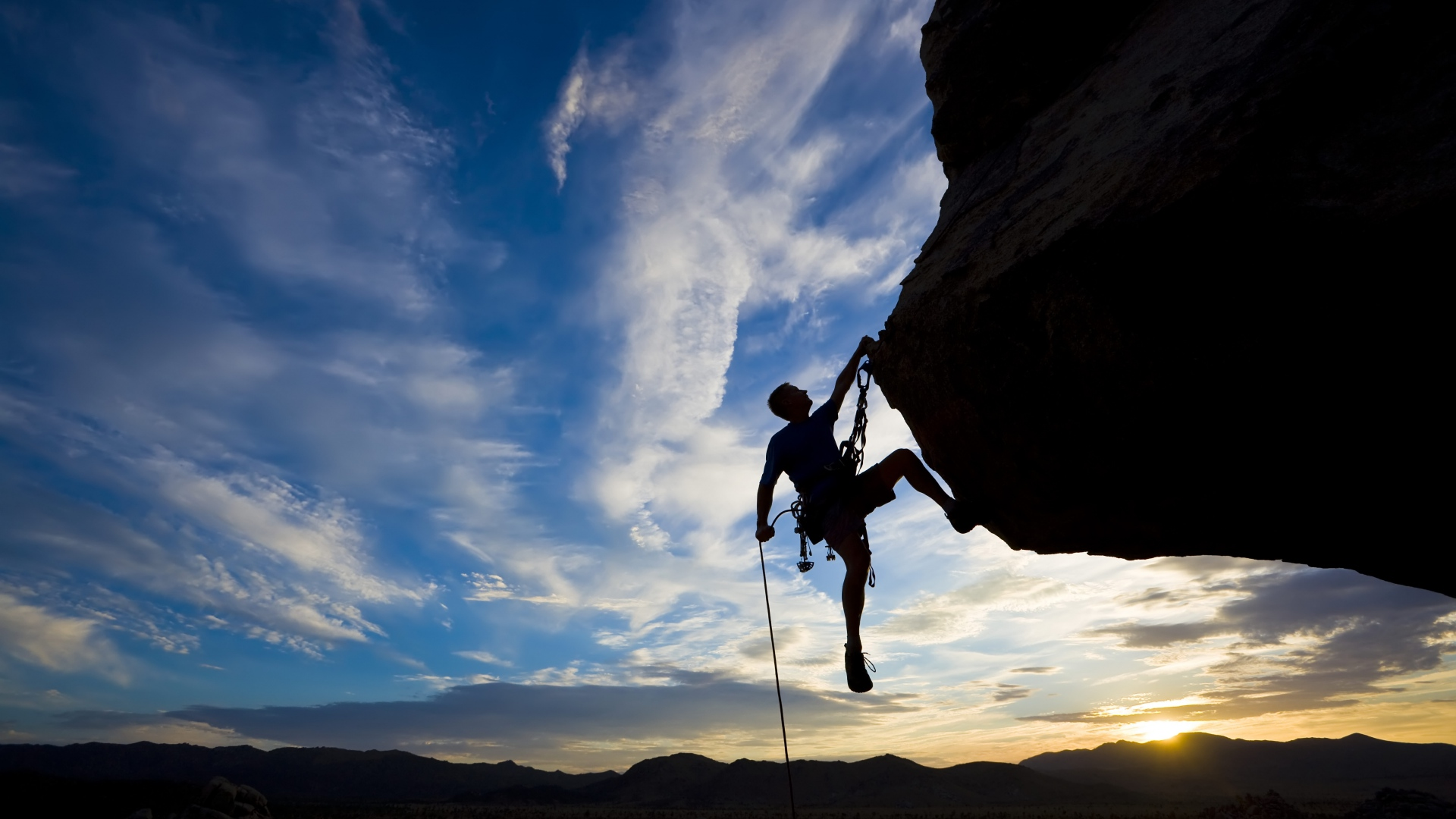 Download Wallpaper 1920x1080 Climber Extreme Silhouette