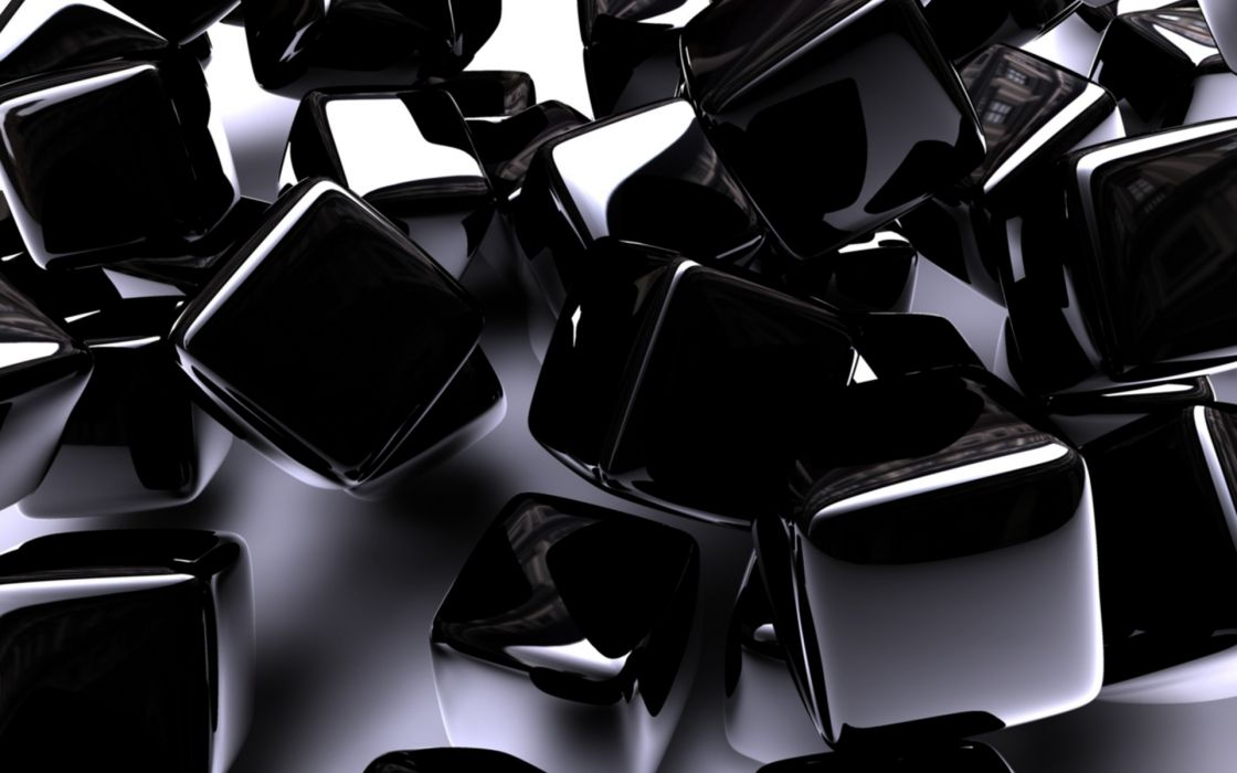 Abstract 3d cg digital art cube square black chrome shine pattern     abstract 3d cg digital art cube square black chrome shine pattern wallpaper