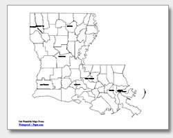 Printable Louisiana Maps | State Outline, Parish, Cities
