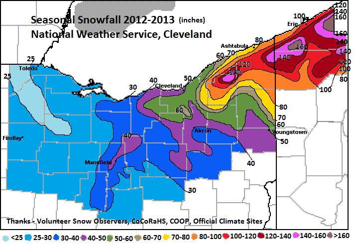 Annual Snowfall Map Ohio