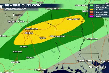 Severe Weather Update  Severe Storms Possible for Parts of Texas and     A Slight risk of severe weather means scattered severe storms will be  possible with the threat for hail greater than 1 inch  damaging winds and  one or two