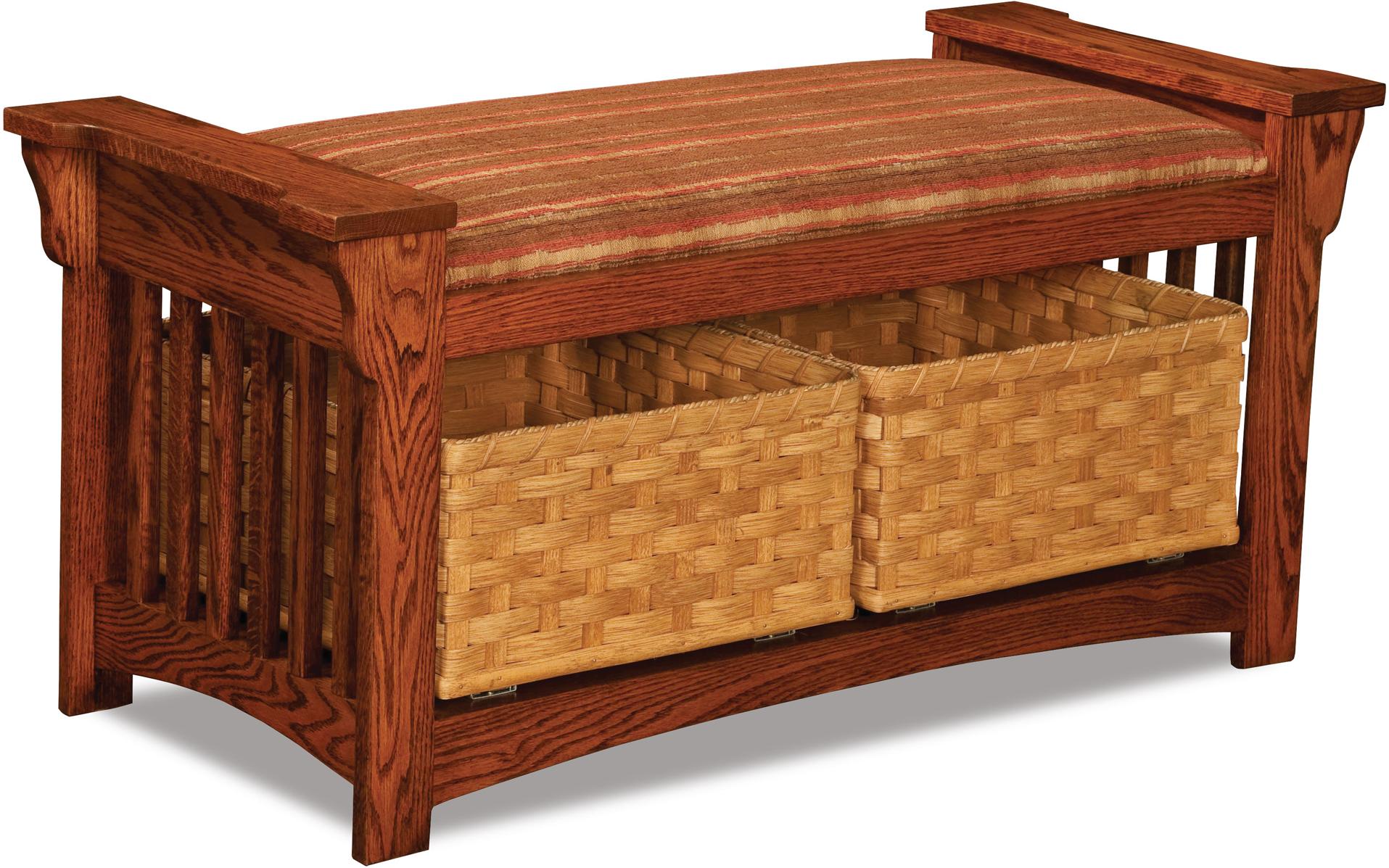 Mission Slat Wood Bench With Baskets Custom Amish Furniture