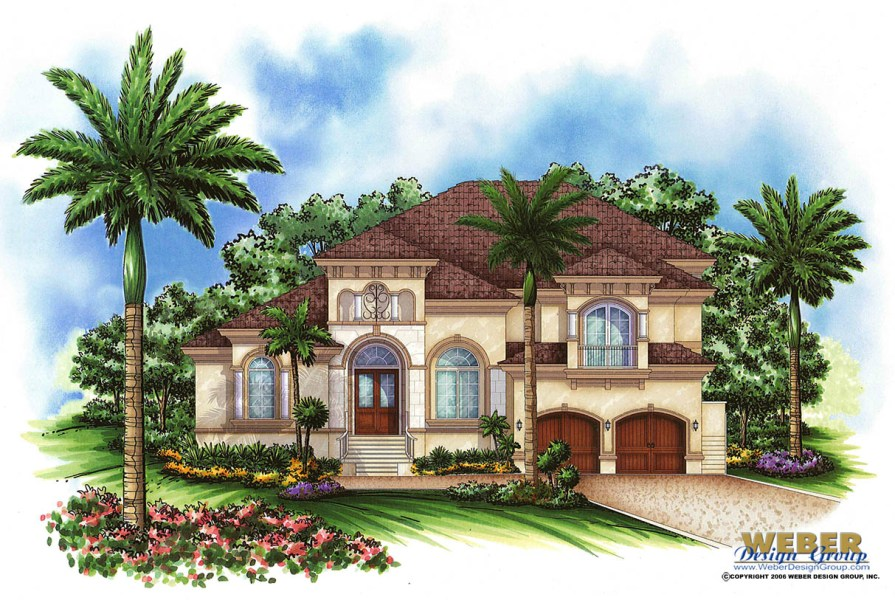 Mediterranean House Plan  2 Story Tuscan Waterfront Home Floor Plan