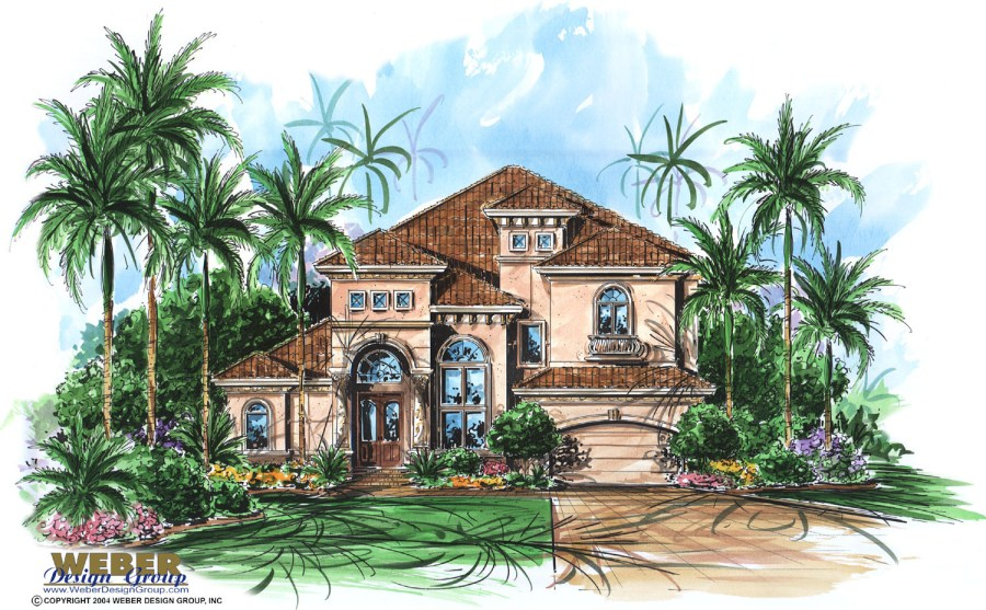 Mediterranean House Plans  Luxury Mediterranean Style Home Floor Plans Aurora House Plan