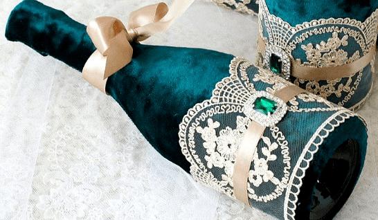 دکوراسیون روبان های شامپاین عروسی