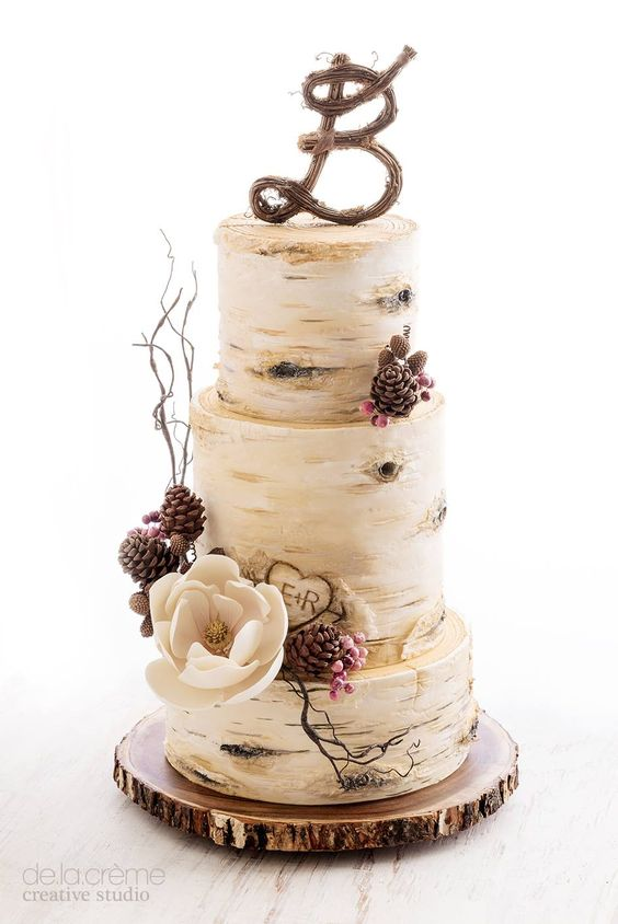 Fall in Love with These 29 Amazing Fall Wedding Cakes     birch tree fall wedding cake idea