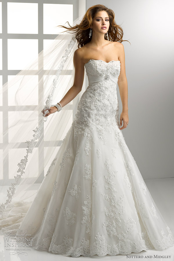 Dress Wedding Soft Fit Embellished And Neckline Flare And Lace Tulle Sweetheart Line
