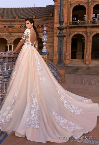 Beautiful Wedding Dresses from the 2017 Crystal Design Collection     crystal design 2017 bridal half sleeves sweetheart neckline heavily  embellished bodice blush color princess ball gown