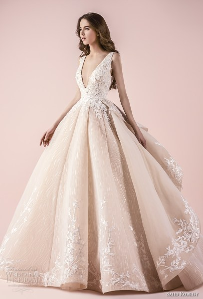 Saiid Kobeisy 2018 Wedding Dresses   Wedding Inspirasi saiid kobeisy 2018 bridal sleeveless deep v neck heavily embellished bodice  romanitc princess blush color ball