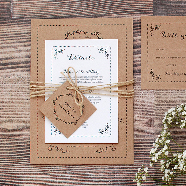 Rustic Wedding Invitation Uk