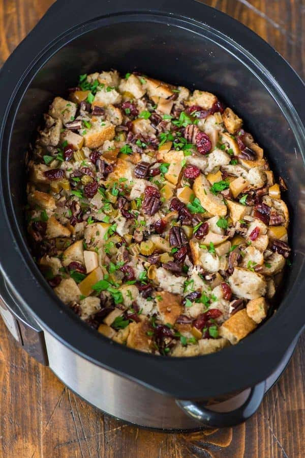 Slow Cooker Stuffing with Apples Recipe   Well Plated by Erin a crock pot full of slow cooker stuffing