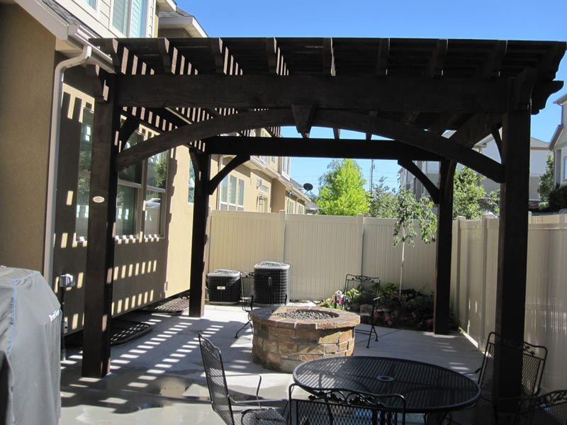 Before Amp After Timber Frame Pergola Over Outdoor Fire Pit