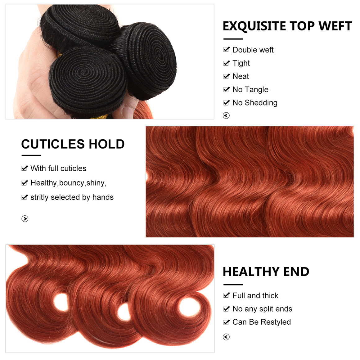 1b 350 Color Ombre Hair 4 Bundles Body Wave Weave Human
