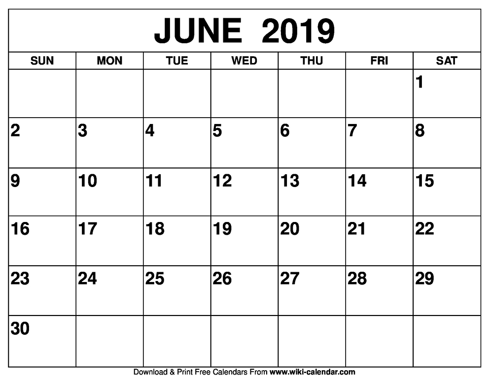 Blank June 2019 Calendar Printable on We Heart It