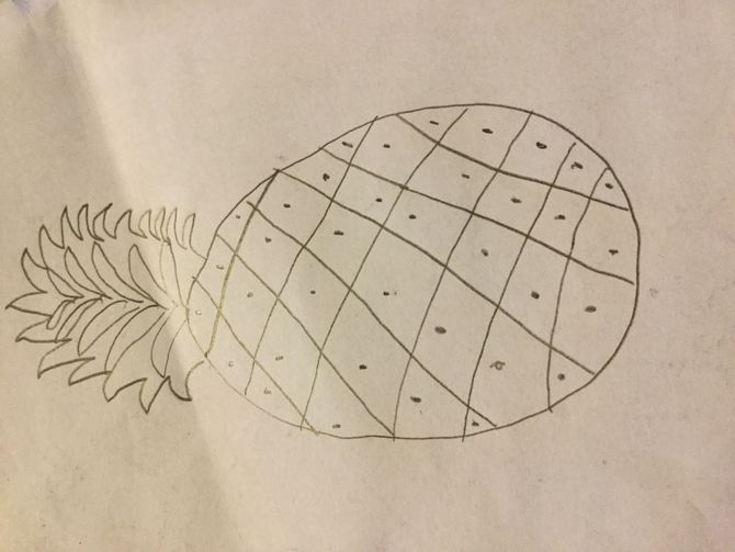 Easy Pineapple Drawing Pencil
