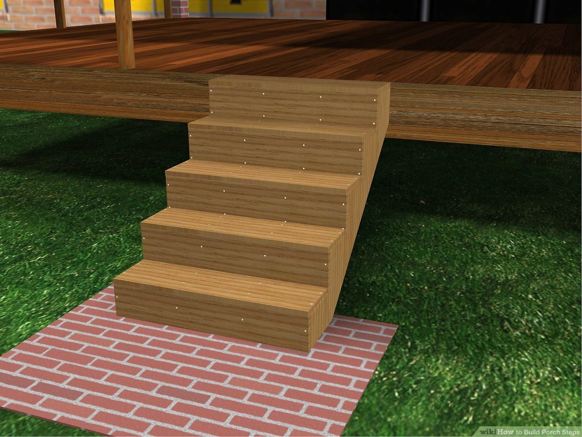 How To Build Porch Steps 13 Steps With Pictures Wikihow | 2 Step Outdoor Stairs | Landing | Exterior | Redwood Deck | Cantilever Deck | 8 Foot
