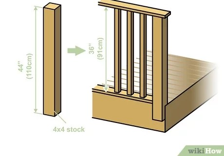 How To Build A Deck Railing With Pictures Wikihow | Diy Handrails For Outdoor Steps | Easy | External Step | Metal | Entrance | Diy Stone