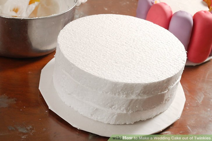 How to Make a Wedding Cake out of Twinkies  6 Steps     to the cardboard cake bottom  Image titled 1921710 4a