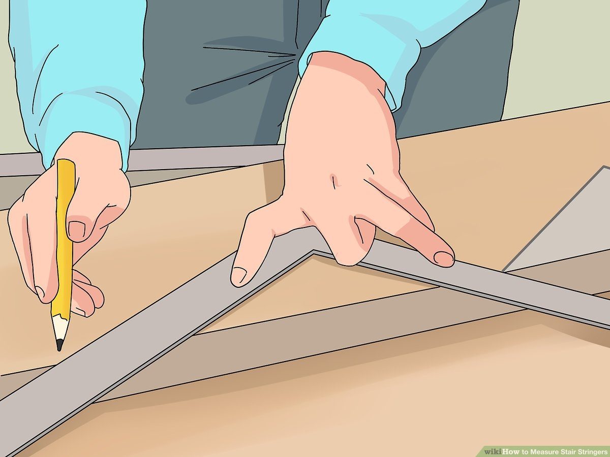 How To Measure Stair Stringers 10 Steps With Pictures Wikihow   Lowes Pressure Treated Stair Treads   Railing   Stair Risers   Treated Lumber   Treated Wood Stair   Deck Stairs