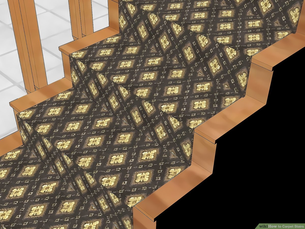 How To Carpet Stairs With Pictures Wikihow   Small Carpet For Stairs   Stair Case   Carpet Runners   Stair Tread   Berber Carpet   Hardwood