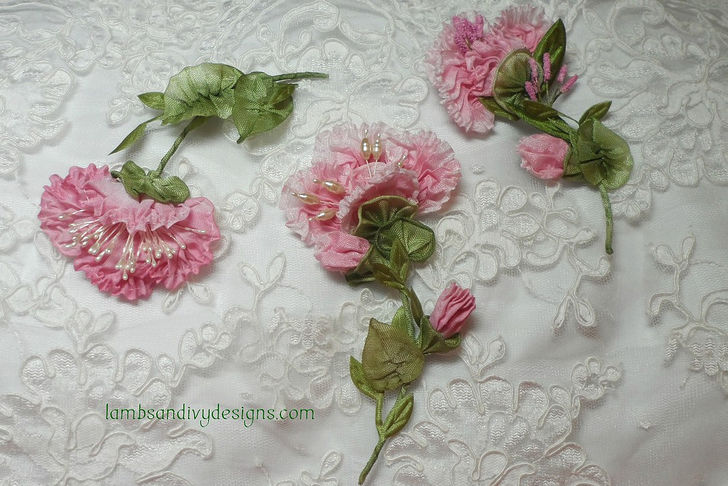 How to Make Silk  Satin or Ribbon Roses  8 Steps  with Pictures  Image titled Trio of French Ribbonwork Flowers