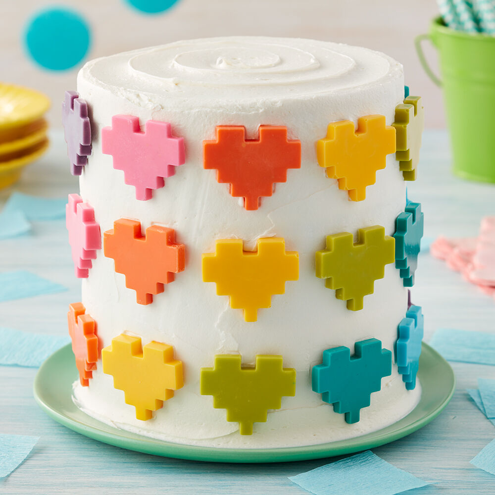 Cake Decorating Ideas   Wilton Rosanna Pansino Hearts Full of Color Cake