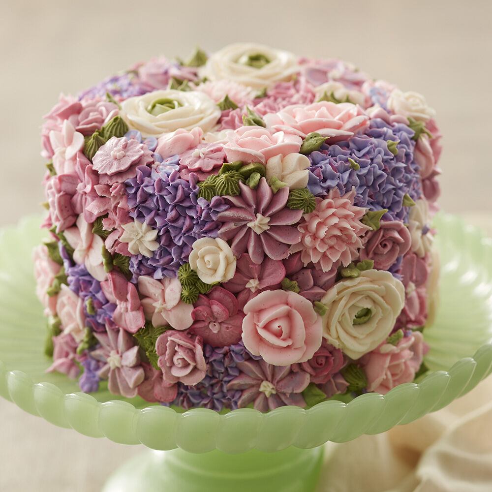 Wedding Cake Ideas   Wedding Cakes   Wilton Blossoming Spring Flowers Cake