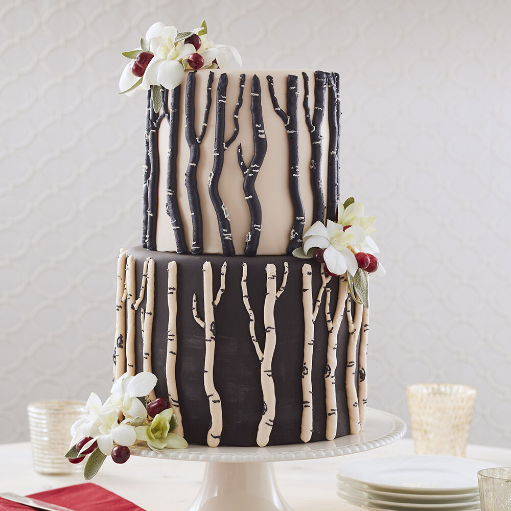 Wedding Cake Ideas   Wedding Cakes   Wilton Winter Berry Birch Bark Cake