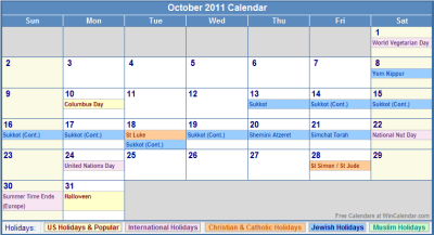 October 2011 Calendar with Holidays - as Picture