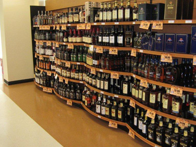 Gondola Shelving   Liquor Store   Wine Store Gondola Shelving Shelving with Rounded Base Option