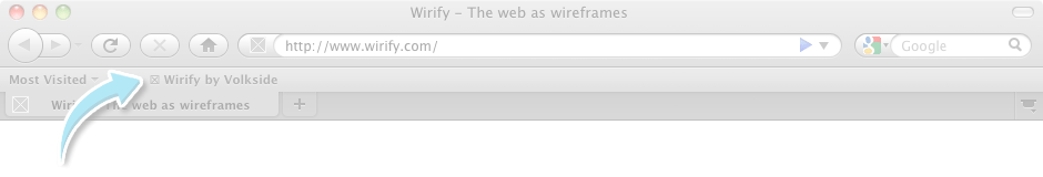 Wirify     The web as wireframes Web browser frame with arrow pointing to the bookmarks toolbar