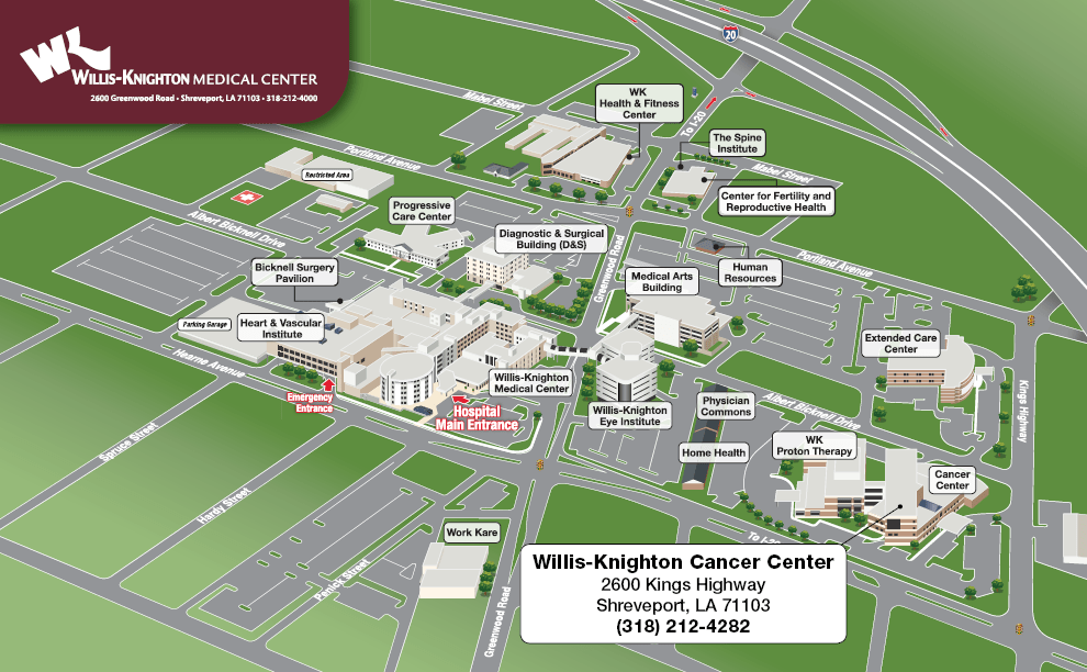Map   Driving Directions   Contact Us   Willis Knighton Cancer     Cancer Center Map