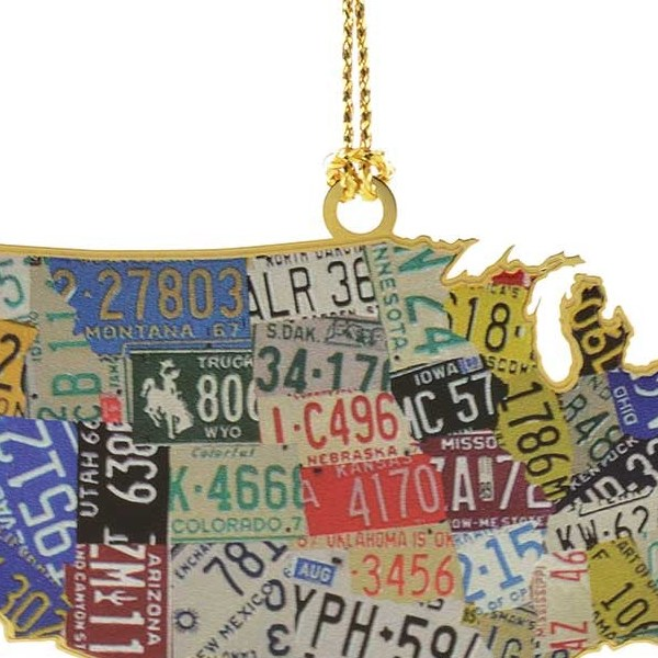 HD Decor Images » USA License Plate Map Ornament Handcrafted in the USA Item  54439  54439 USA License Plate Map Christmas Ornament
