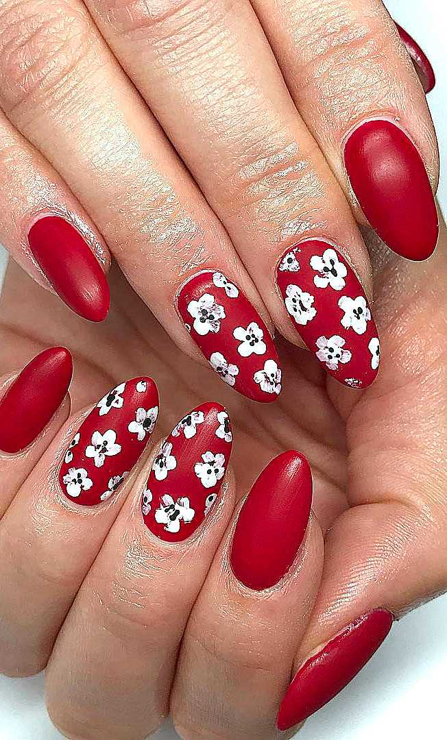 24 Matte Red Nails Ideas. Successful Acrylic and Coffin ...