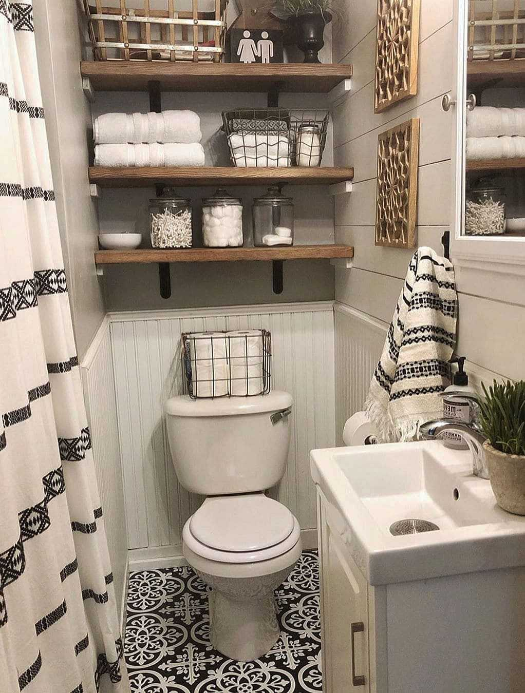 rustic small bathroom