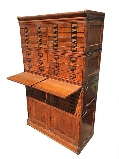 Oak Multi Drawer File Cabinet Wooden Nickel Antiques