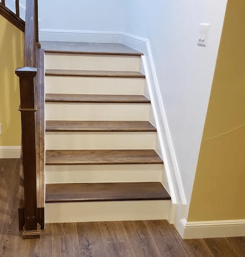 Wood Floor Of The Week Clever Staircase Transitions From Light To | Hardwood Floor To Stair Transition | Porcelain Tile | Molding | Stair Tread | Vinyl Plank | Carpeted Stairs